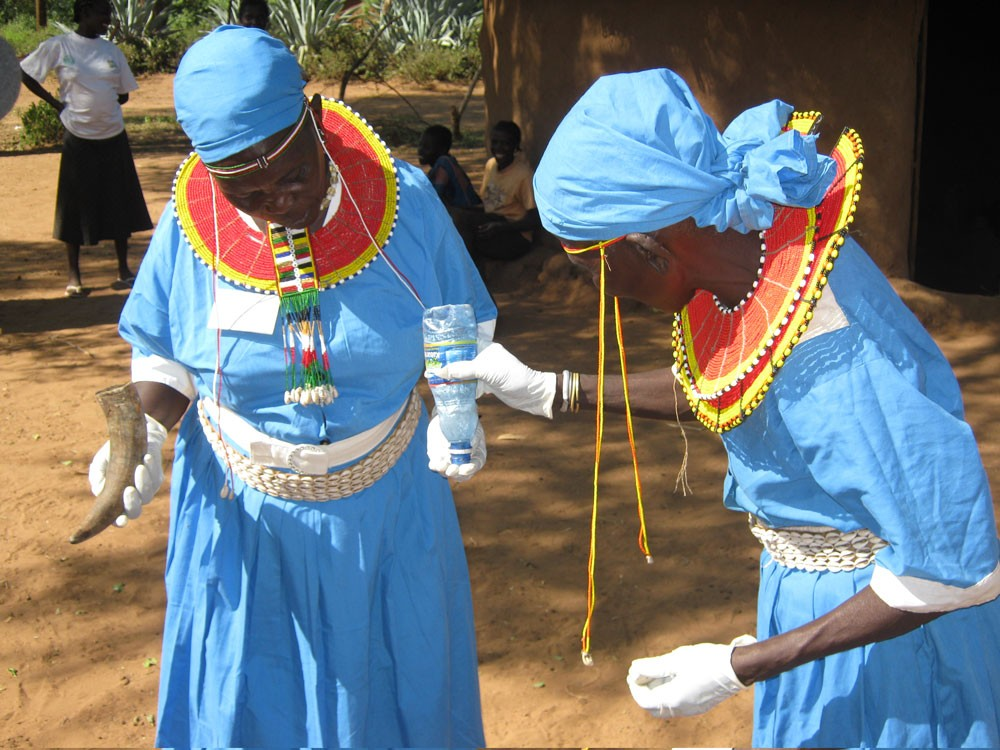Traditional female circumsisors getting ready  to perform the ritual of genital mutilation. Elgeyo-Marakwet elders claim to have seen a 'star' indicating a move of the season for FGM from August to December.