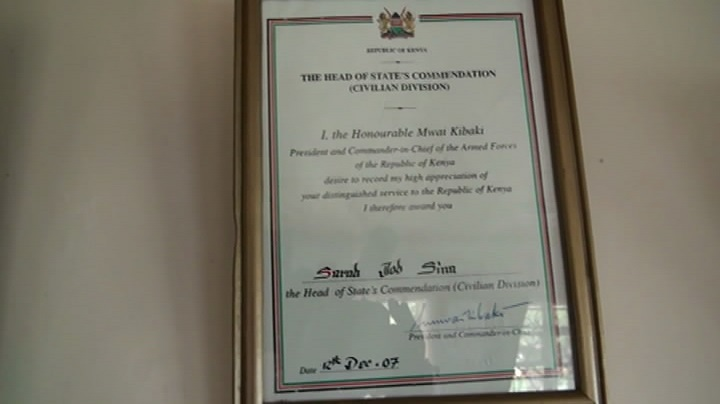 The Head of State Commendation Award that was given to Kogo Sarah Saina by President Mwai Kibaki in December 2007. This award is quite competitive and is offered after some evidence beyond reasonable doubt that the farmer is contributing immensely to the food basket of the country. Picture by Wilson Rotich.